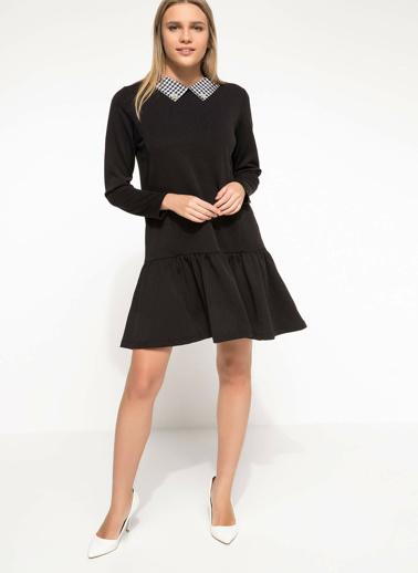 DeFacto Yaka Detaylı Elbise Siyah